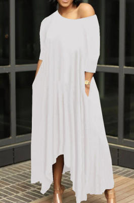 Casual Pure Color Irregularity Off Shoulder Simple Giant Swing Dress YX9283