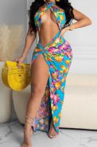 Sexy Summer Print Beach Dress Two-Piece A8603