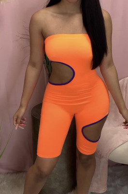Euramerican Sexy Boob Tube Top Hole Color Matching Jumpsuits MN8355