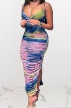 Condole Belt V Neck Tie Dye Printing Open Fork Long Dress Q867
