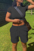 Casual Have Pocket Pure Color T-Shirt Shorts Sports Sets ALS251