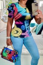 Women Colorful Letter Printing Short Sleeve Ruffle Fashion T Shirts BLK1109