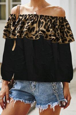 Leopard Spliced Flounce Contrast Color Blouse Q5008