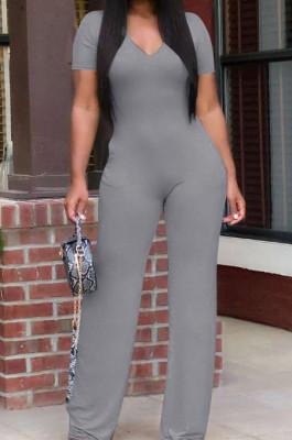 Euramerican Women Pure Color V Neck Short Sleeve Shift Jumpsuits KK8260
