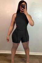 Casual Backless Drape Bangdage Pure Color Shorts Sets HAA9080
