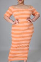 Fashion Big Yards Flame Stripe Pit Bar Dress QZ5283