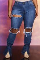 Fashion Cowboy Culitate One's Morality Hole Flare Open Fork Cowboy Pants JLX6885