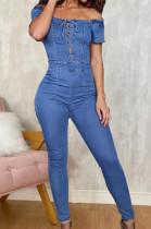 Euramerican Fashion Eyelet Bind A Word Shoulder Cowboy Jumpsuits JLX6894