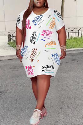 Casual Plus Size Round Neck Loose Letter Print Dress TC064