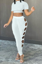 Personality Pure Color Hole Pants Sets AYW8008
