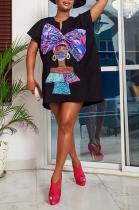 Hot Sales Casual Black Print Loose Pullover Dress MLD5044