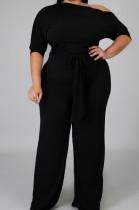 Euramerican Big Yards Fat Women Pure Color Inclined Shoulder Knotted Starp Jumpsuits QZ5282