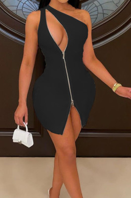 Fashion One Shoulder Zipper Hollow Out Package Buttocks Dress WJ5219