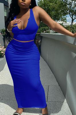 Sexy V Neck Sleeveless Vest Pure Color Skirts Sets Q826