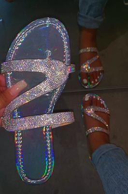 Euramerican  Crystal Slippers Flat Beach Shoes XK9060