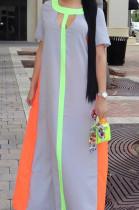 Euramerican Women Fashion Spliced Short Sleeve Long Dress OMM1057