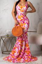 Euramerican Fashion Backless Print Long Dress OMM1061