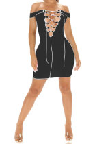 Sexy Half Open Collar Bind Pit Bar A Word Shoulder Cultivate One's Morality Mini Dress BE8036