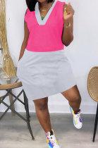 Spliced Contrast Color Pocket Mini Dress QHH8644