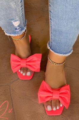 Summer Pure Color Bowknot Flat Sandal Slipper XK8034