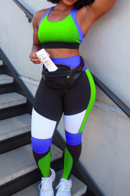 Sexy Contrast Color Yoge Sports Vest Long Pants Sets XUY9105