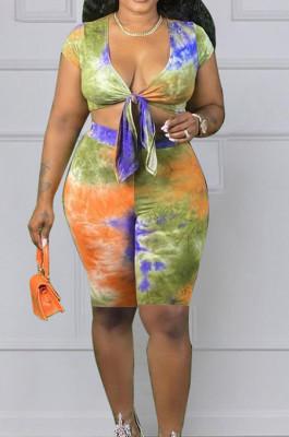 Fashion Big Yards Tie Dye Print Bind Two-Piece JG048