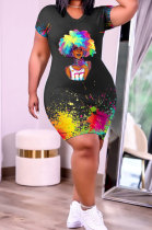 Fashion Casual Positioning Printing Plus Mini Dress GHH049