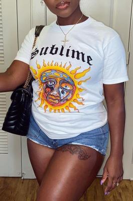 Sun&Lettered Printed Short-sleeved Women's Casual T-shirt Top GJFS38656
