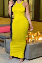 Fashion Off Shoulder Sleeveless Pure Color Long Dress AMM8352