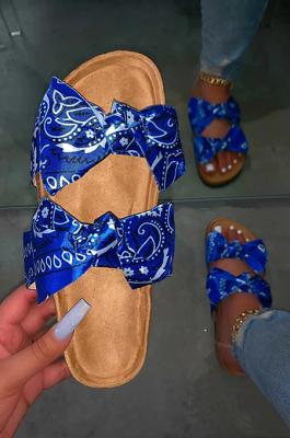 Summer Casual Print Bowknot Flat Beach Shoes XK9057