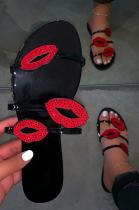Women Sexy Lips Rhinestone Sandal Slipper XK8027
