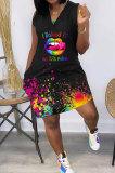 Women Fashion Casual Splash-InkLips Butterfly Printing Mini Dress GHH050