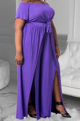 Fashion Casual Loose Pure Color Bind Plus Pants Sets MQX2351