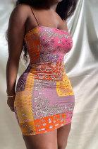 Women Cashew Flower Element Printing Gallus Cultivate One's Morality Mini Dress HR8169