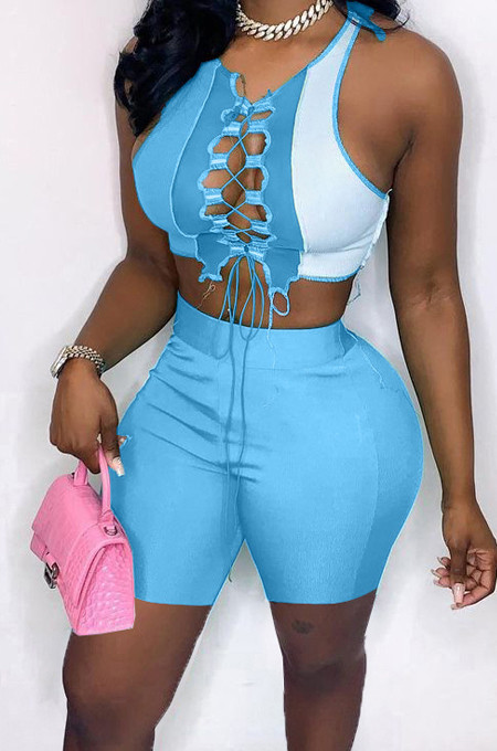 Contrast Color Spliced Bind Hollow Out Two-Piece MN8361