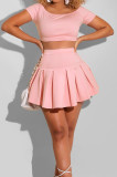 Sexy A Word Shoulder Short Sleeve Pleated Skirt Two-Piece L0352