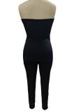 Sexy One Shoulder Slit-back Split High Waist Casual Pantsuit SFM0261