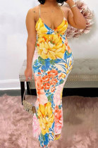 Euramerican Condole Belt Printing Deep V Backless Sexy Long Dress JZH8045