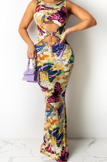 Fashion Stretch Digital Print Sleeveless Long Dress QZ4346