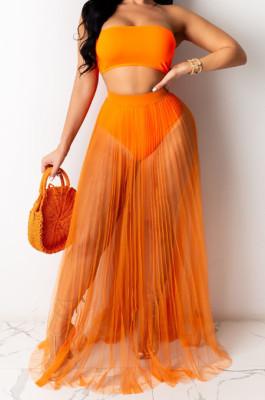 Fashion Sexy Net Yarn Perspective Beach Skirts QZ4341