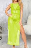 Fashion Stretch Net Yarn Sleeveless Long Dress SMR10042