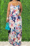 Sexy Tie Dye Colorful Print Sing Loose Dress Have Head Cloth X9306