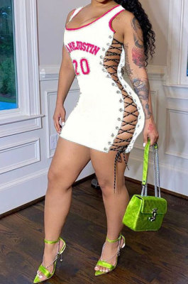 Sexy Hollow Out Printing Mini Dress YS346