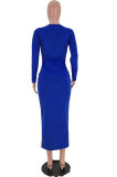 Trendy Stitching Color Round Neck Long Dress AZM9008