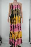 Sexy Tie Dye Colorful Print Sing Loose Dress X9305