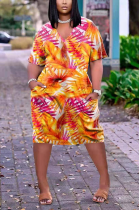 Casual V-Neck Print Short Sleeve Loose Dress AZM9027