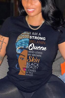 Casual Summer Queen Girl Print Loose T-Shirt GJFS38919