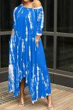Open Fork Skirt's Hemline Loose Tie Dye Pocket Long Dress RMH8923