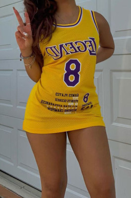 Fashion Casual Purple Gold Match Colors Cultivate One's Morality Sport Vest Mini Dress AYA7014