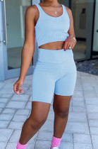 Fashion Casual Prue Color Vest Shorts Two-Piece SM9185